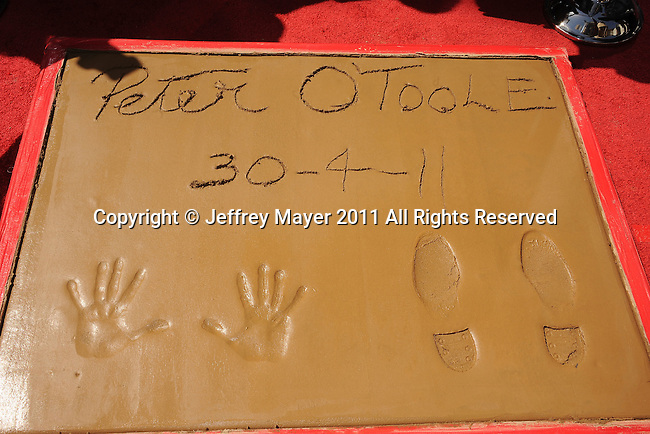 HOLLYWOOD, CA - APRIL 30: Peter O'Toole's Hand and Footprints at the TCM Classic Film Festival honors Actor Peter O'Toole with hand and foot ceremony held at Grauman's Chinese Theatre on April 30, 2011 in Hollywood, California.