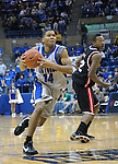 08 March 2008:   Air Force guard, Adam Hood (14), drives for the basket  during the Falcon's 46-43 Mountain West Conference victory over the San Diego State Aztecs at Clune Arena, U.S. Air Force Academy, Colorado Springs, Colorado.