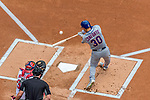 30 April 2017: New York Mets outfielder Michael Conforto at bat in the first inning against the Washington Nationals at Nationals Park in Washington, DC. The Nationals defeated the Mets 23-5 in the third game of their weekend series. Mandatory Credit: Ed Wolfstein Photo *** RAW (NEF) Image File Available ***