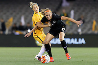 June 7, 2016: HANNAH WILKINSON (17) of New Zealand protects the ball during an international friendly match between the Australian Matildas and the New Zealand Football Ferns as part of the teams' preparation for the Rio Olympic Games at Etihad Stadium, Melbourne. Photo Sydney Low