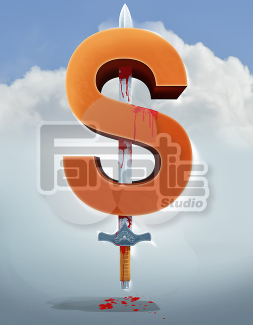 Illustrative image of sword in dollar sign representing business crime
