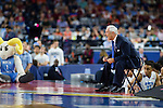 02 APR 2016: Head Coach Roy Williams of the University of North Carolina yells instructors to team against Syracuse University during the 2016 NCAA Men's Division I Basketball Final Four Semifinal game held at NRG Stadium in Houston, TX. North Carolina defeated Syracuse 83-66 to advance to the championship game.  Brett Wilhelm/NCAA Photos