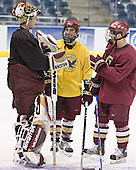 Cory Schneider, Stephen Gionta, Chris Collins - The Boston College Eagles practiced at the Bradley Center in Milwaukee, Wisconsin, on April 7, 2006 in preparation for the 2006 Frozen Four Final game vs. the University of Wisconsin on April 8, 2006.