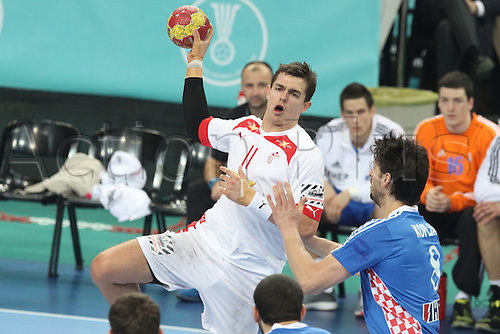 25.01.2013 Barcelona, Spain. IHF men's world championship, Semi-final. Picture shows Rasmus Lauge in action during game between Denmark v Croatia  at Palau St. Jordi