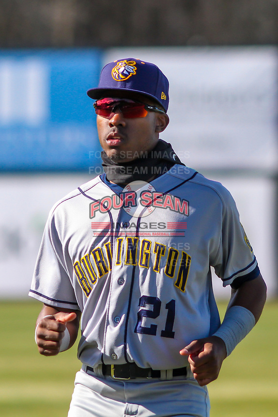 Burlington Bees outfielder Spencer Griffin (21) warms up in the outfield prior to a Midwest League game against the Wisconsin Timber Rattlers on April 26, 2019 at Fox Cities Stadium in Appleton, Wisconsin. Wisconsin defeated Burlington 2-0. (Brad Krause/Four Seam Images)
