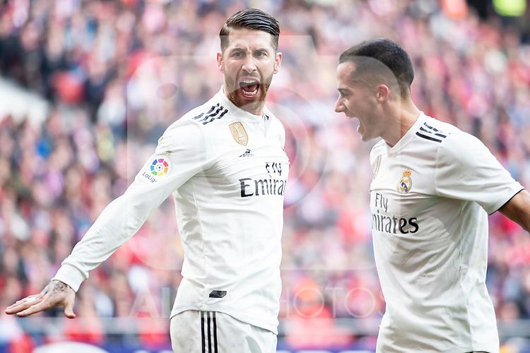 Sergio Ramos and Lucas Vazquez of Real Madrid celebrating a goal during La Liga match between Atletico de Madrid and Real Madrid at Wanda Metropolitano in Madrid Spain. February 09, 2018. (ALTERPHOTOS/Borja B.Hojas)