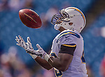 21 September 2014: San Diego Chargers running back Branden Oliver warms up prior to facing the Buffalo Bills at Ralph Wilson Stadium in Orchard Park, NY. The Chargers defeated the Bills 22-10 in AFC play. Mandatory Credit: Ed Wolfstein Photo *** RAW (NEF) Image File Available ***