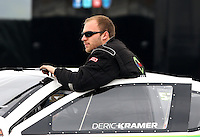 Feb 9, 2014; Pomona, CA, USA; NHRA pro stock driver Deric Kramer during the Winternationals at Auto Club Raceway at Pomona. Mandatory Credit: Mark J. Rebilas-