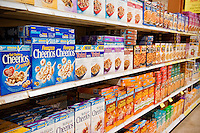 Cereal brands in a grocery store