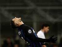 Football: UEFA Champions League -Group Stage - Group B - FC Internazionale Milano vs PSV Eindhoven, Giuseppe Meazza  (San Siro) Stadium, Milan Italy, December 11, 2018.<br /> Inter Milan's Captain Mauro Icardi reacts during the Uefa Champions League football match between Inter Milan and PSV Eindhoven at Giuseppe Meazza  (San Siro) Stadium in Milan on December 11, 2018. <br /> UPDATE IMAGES PRESS/Isabella Bonotto