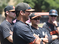 (Photo by John Valenzuela, Freelance)<br /> <br /> Head Baseball Coach Luke Wetmore. The Occidental College baseball team defeats Caltech to claim the SCIAC Championships on Sunday, May 1, 2016 at Oxy's Anderson Field.<br /> <br /> (Photo by John Valenzuela, Freelance)