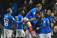 Ben Close of Portsmouth is mobbed after scoring to make the score 3-2 during Portsmouth vs Rotherham United, Sky Bet EFL League 1 Football at Fratton Park on 26th November 2019
