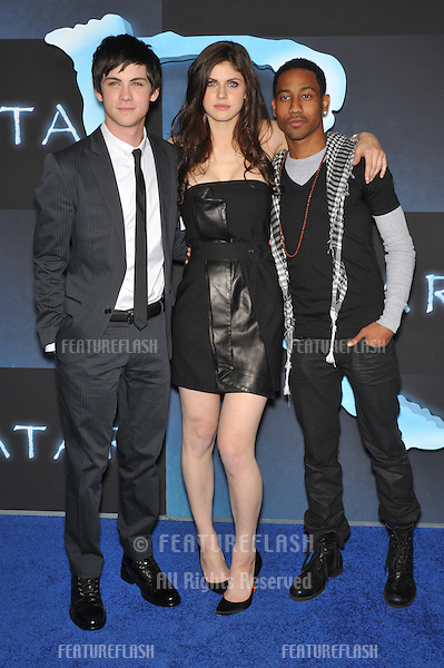 "Logan Lerman (left), Alexandra Daddario & Brandon T. Jackson at the Los Angeles premiere of ""Avatar"" at Grauman's Chinese Theatre, Hollywood..December 16, 2009  Los Angeles, CA.Picture: Paul Smith / Featureflash"