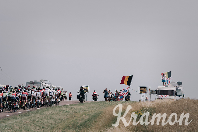 peloton letting the race lead it's course<br /> <br /> 104th Tour de France 2017<br /> Stage 7 - Troyes &rsaquo; Nuits-Saint-Georges (214km)