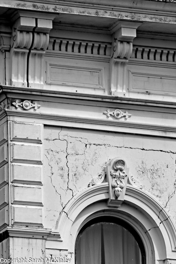 Details of a building with ornate stone work on G Street in Old Town Eureka in Humboldt County in Northern California.