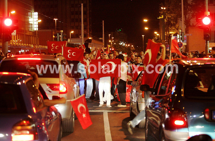**ALL ROUND PICTURES FROM SOLARPIX.COM**.**SYNDICATION RIGHTS FOR UK AND SPAIN ONLY**.Turkish fans at the end of the European Championship tournament Euro 2008, Switzerland versus Turkey at St. Jacob-Park, Basel (Switzerland). Turkey 2 Switzerland 1. 11th June 2008..This pic: Atmosphere..JOB REF: 6618 CPR/Thomas Lohnes .DATE:11_06_2008.**MUST CREDIT SOLARPIX.COM OR DOUBLE FEE WILL BE CHARGED* *UNDER NO CIRCUMSTANCES IS THIS IMAGE TO BE REPRODUCED FOR ANY ONLINE EDITION WITHOUT PRIOR PERMISSION*