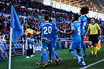 Players of Getafe FC celebrate goal during La Liga match between Getafe CF and Real Betis Balompie at Wanda Metropolitano Stadium in Madrid, Spain. January 26, 2020. (ALTERPHOTOS/A. Perez Meca)
