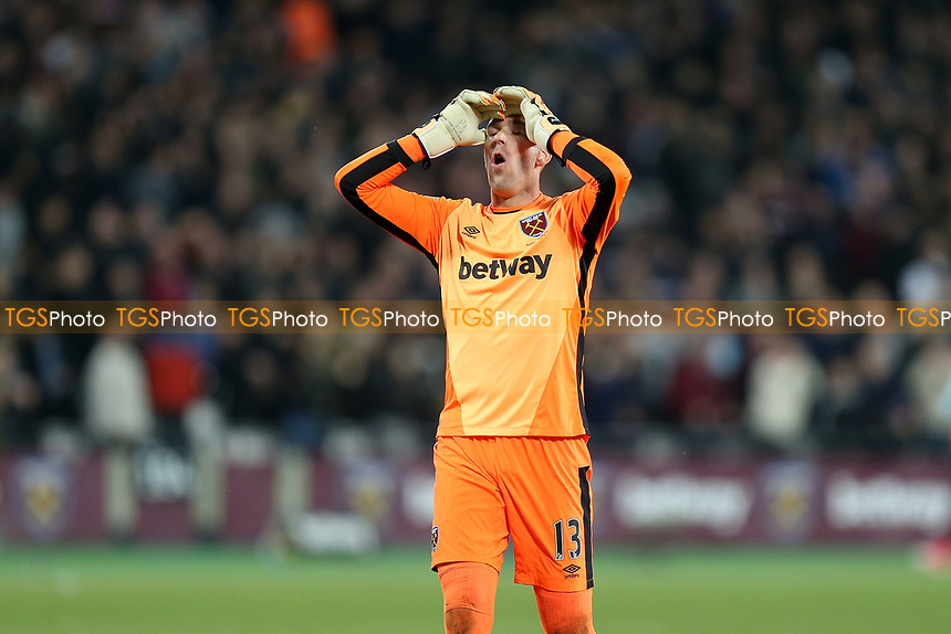 Adrian of West Ham United can't believe his team missed a chance during West Ham United vs Tottenham Hotspur, Premier League Football at The London Stadium on 5th May 2017