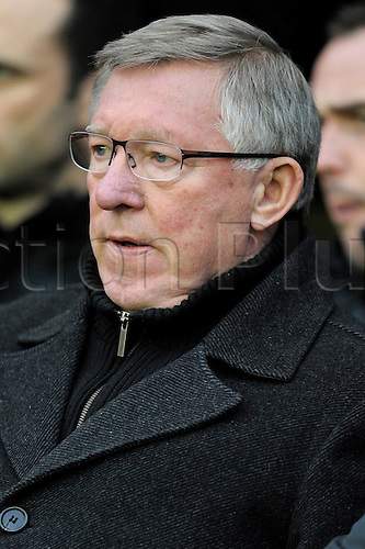 01.01.2013 Wigan, England. Alex Ferguson Manager of Manchester United pictured before the Premier League game between Wigan Athletic and Manchester United at the DW Stadium.