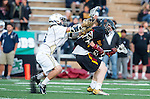 San Diego, CA 05/25/13 - Liam Barnes (Torrey Pines #4) and Caleb Young (La Costa Canyon #11) in action during the 2013 CIF San Diego Section Open DIvision Boys Lacrosse Championship game.  Torrey Pines defeated La Costa Canyon 7-5.