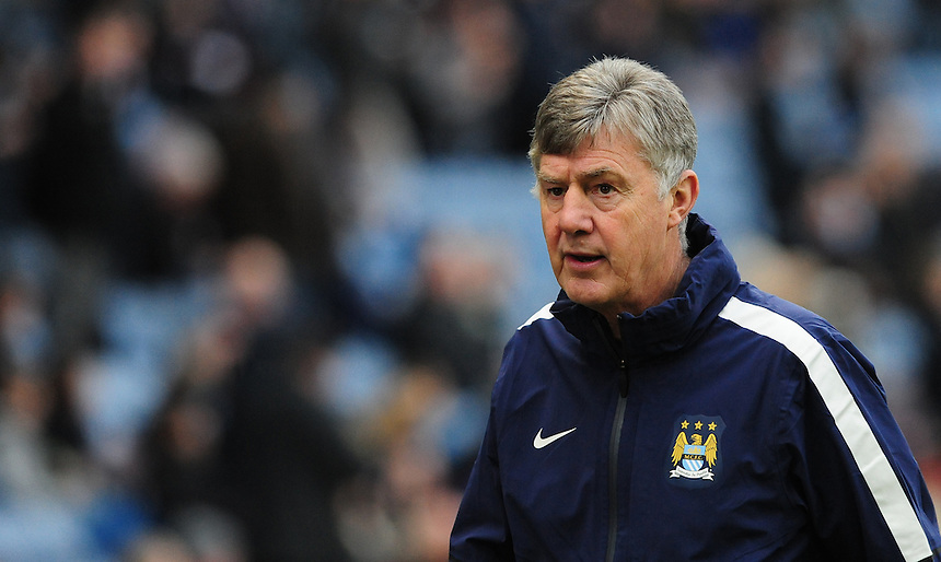 Manchester City coach Brian Kidd during the pre-match warm-up <br /> <br /> Photographer Chris Vaughan/CameraSport<br /> <br /> Football - Barclays Premiership - Burnley v Manchester City - Saturday 14th March 2015 - Turf Moor - Burnley<br /> <br /> &copy; CameraSport - 43 Linden Ave. Countesthorpe. Leicester. England. LE8 5PG - Tel: +44 (0) 116 277 4147 - admin@camerasport.com - www.camerasport.com