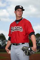 Birmingham Barons pitcher Tyler Danish (23) poses for a photo before a game against the Biloxi Shuckers on May 24, 2015 at Joe Davis Stadium in Huntsville, Alabama.  Birmingham defeated Biloxi 6-4 as the Shuckers are playing all games on the road, or neutral sites like their former home in Huntsville, until the teams new stadium is completed in early June.  (Mike Janes/Four Seam Images)