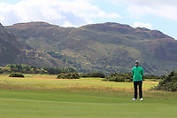 Peter O'Keeffe from Ireland on the 1st green during Round 1 Singles of the Men's Home Internationals 2018 at Conwy Golf Club, Conwy, Wales on Wednesday 12th September 2018.<br /> Picture: Thos Caffrey / Golffile<br /> <br /> All photo usage must carry mandatory copyright credit (© Golffile | Thos Caffrey)