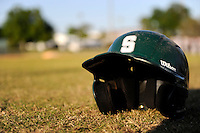 Slippery Rock helmet sitting in the grass after a game against the Wayne State Warriors on March 15, 2013 at Chain of Lakes Park in Winter Haven, Florida.  (Mike Janes/Four Seam Images)