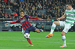 11.12.2013 Barcelona, Spain. UEFA Champions League, Group H Matchday 6. Picture show Neymar da Silva Santos Júnior (L) and Derk Boerrigter(R)  in action during game between FC Barcelona Against Celtic at Camp Nou