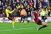 Andre Gray of Watford takes a shot on goal blocked by Philip Billing of Bournemouth during AFC Bournemouth vs Watford, Premier League Football at the Vitality Stadium on 12th January 2020