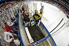 Feb. 8, 2013; A Michigan player enters the penalty box during a game at the Compton Family Ice Arena...Photo by Matt Cashore/University of Notre Dame