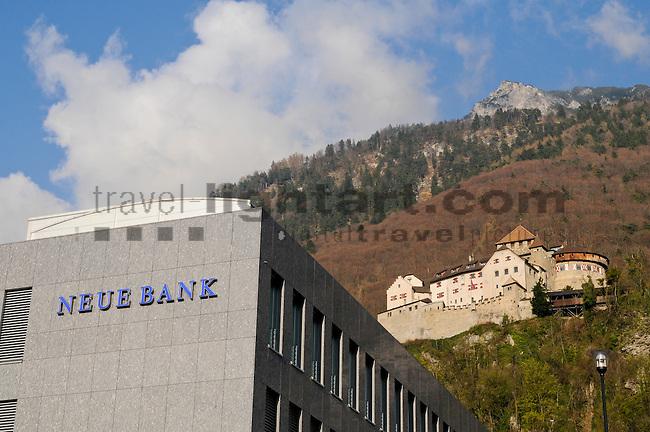Castle of Vaduz, Neue Bank, Liechtenstein,