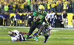 EUGENE, OR - OCTOBER 6: Running back De'Anthony Thomas (6) of the Oregon Ducks heads to the end zone and a touchdown during the first quarter of the game against the Washington Huskies on October 6, 2012 at Autzen Stadium in Eugene, Oregon. Oregon won the game 52-21. (Photo by Steve Dykes/Getty Images) *** Local Caption *** De'Anthony Thomas