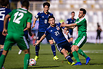 Doan Ritsu of Japan (L) battles for the ball with Mingazov Ruslan of Turkmenistan (R) during the AFC Asian Cup UAE 2019 Group F match between Japan (JPN) and Turkmenistan (TKM) at Al Nahyan Stadium on 09 January 2019 in Abu Dhabi, United Arab Emirates. Photo by Marcio Rodrigo Machado / Power Sport Images