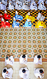 VIETNAM, Cao Dai Temple in the City of Tay Ninh,  Overhead Shot of Prayers