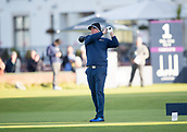 6th October 2017, Carnoustie Golf Links, Carnoustie, Scotland; Alfred Dunhill Links Championship, second round; Australian cricket legend Shane Warne tees off on the first hole on the Championship Links, Carnoustie during the second round at the Alfred Dunhill Links Championship