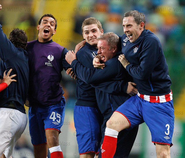 The Rangers bench explode onto the park with delight as Maurice Edu score to win the game. Super Ally roars and is bear hugged by Davie Weir and Kyle Hutton as Darren Cole yells his head off