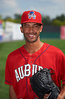 Auburn Doubledays pitcher Mariano Rivera (44) poses for a photo before a game against the Batavia Muckdogs on September 7, 2015 at Falcon Park in Auburn, New York.  Auburn defeated Batavia 11-10 in ten innings.  (Mike Janes/Four Seam Images)
