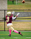 WATERBURY,  CT-101219JS17- Sacred Heart-Kaynor's Michael Scott (3) catches a touchdown pass in the first half of their game against Crosby Saturday at Municipal Stadium in Waterbury.<br /> Jim Shannon Republican-American
