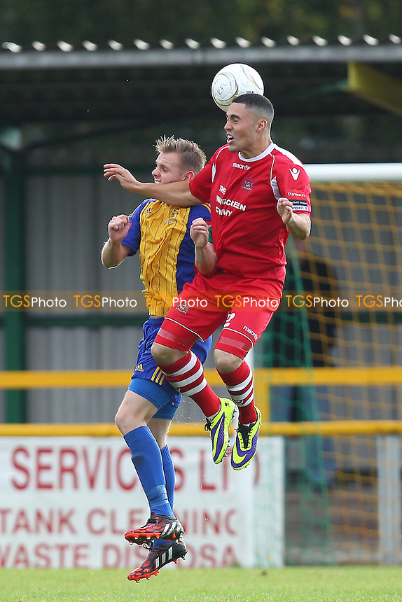 Jack Barry in aerial action for Romford - Romford vs Needham Market - Ryman League Division One North Football at Ship Lane, Thurrock FC - 04/10/14 - MANDATORY CREDIT: Gavin Ellis/TGSPHOTO - Self billing applies where appropriate - contact@tgsphoto.co.uk - NO UNPAID USE
