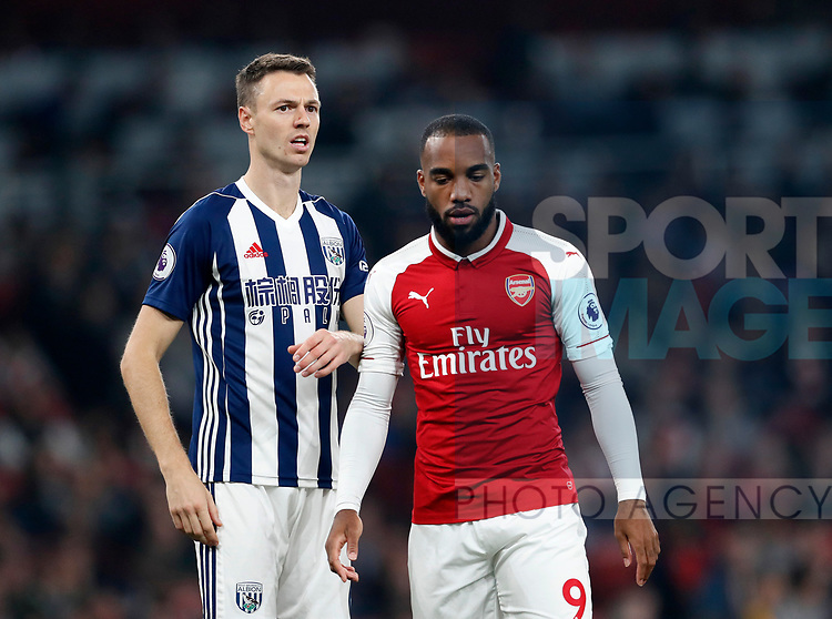 West Brom's Jonny Evans in action during the premier league match at the Emirates Stadium, London. Picture date 25th September 2017. Picture credit should read: David Klein/Sportimage