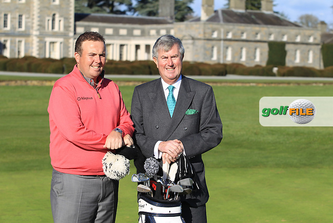 Redmond O'Donoghue, Failte Ireland with Shane Lowry at a press conference to preview the 2013 Irish Open hosted by Carton House, Co.Kildare, Ireland. 6th February 2013..Photo Eoin Clarke/www.golffile.ie