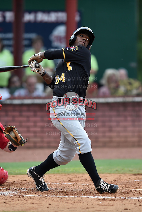 Bristol Pirates right fielder Nick Buckner #34 swings at a pitch during a game against the Elizabethton Twins at Joe O'Brien Field June 30, 2014 in Elizabethton, Tennessee. The Twins defeated the Pirates 8-5 in game one of a double header. (Tony Farlow/Four Seam Images)