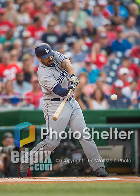 22 July 2016: San Diego Padres outfielder Matt Kemp in action against the Washington Nationals at Nationals Park in Washington, DC. The Padres defeated the Nationals 5-3 to take the first game of their 3-game, weekend series. Mandatory Credit: Ed Wolfstein Photo *** RAW (NEF) Image File Available ***
