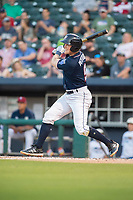 Northwest Arkansas Naturals outfielder Kort Peterson (9) connects on a pitch during a Texas League game between the Northwest Arkansas Naturals and the Arkansas Travelers on May 30, 2019 at Arvest Ballpark in Springdale, Arkansas. (Jason Ivester/Four Seam Images)