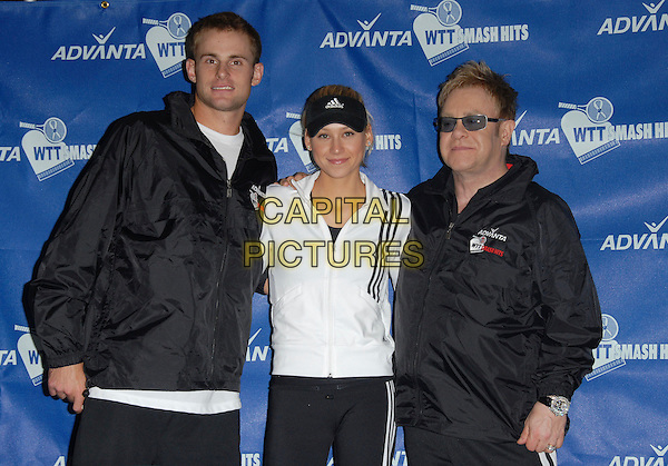 ANDY RODDICK, ANNA KOURNIKOVA & ELTON JOHN .The 14th Annual Advanta WTT Smash Hits held at The UC Irvince Bren Center in Irvine, California, USA..September 14th, 2006.Ref: DVS.half length black white jacket sunglasses shades.www.capitalpictures.com.sales@capitalpictures.com.©Debbie VanStory/Capital Pictures