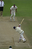 Photo Peter Spurrier.01/09/2002.Village Cricket Final - Lords.Elvaston C.C. vs Shipton-Under-Wychwood C.C..Chris Panter take the last Elvaston.