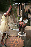Girls pounding rice in a native mill. This process peels off husk from the grains so it can be consumed. Photo taken in the Philippine Cordillera at the northeastern part of main island of Luzon, Philippines. Malibcong, Abra. August, 1999
