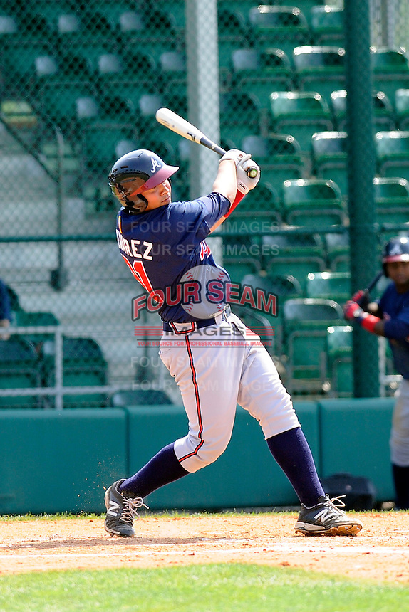 Catcher Wigberto Nevarez (91) of the Atlanta Braves farm system in a Minor League Spring Training intrasquad game on Wednesday, March 18, 2015, at the ESPN Wide World of Sports Complex in Lake Buena Vista, Florida. (Tom Priddy/Four Seam Images)