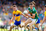 Jack Barry Kerry in action against Eoghan Collins Clare during the Munster GAA Football Senior Championship semi-final match between Kerry and Clare at Fitzgerald Stadium in Killarney on Sunday.